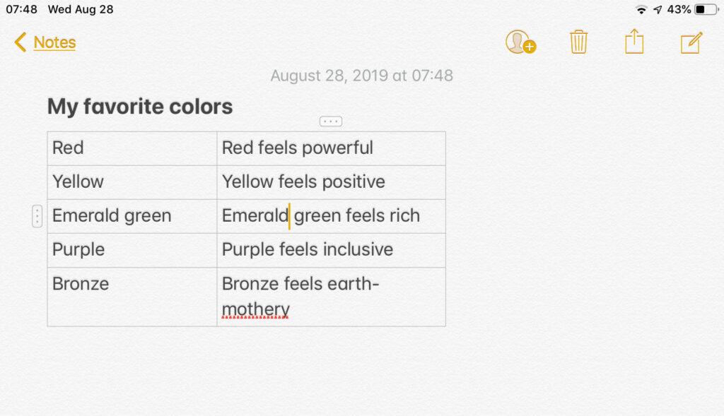 List of my favorite colors